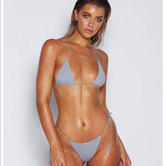 d1b069808fd Meshki Swim | Amalia Tie Up Bikini Grey Blue Top And Bottom | Poshmark
